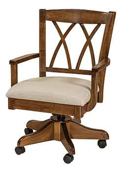 Amish Custom Crafted Alexis Desk Chair With Our Popular Kevco Castered Desk  Base. Shown Crafted Out Of Solid Brown Maple Hardwood With A Nutmeg Stain  And ...