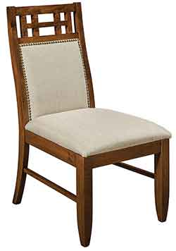 dining chair shown in brown maple with nutmeg stain color and fabric seat and back the buckingham can also be amish custom made with premium leather