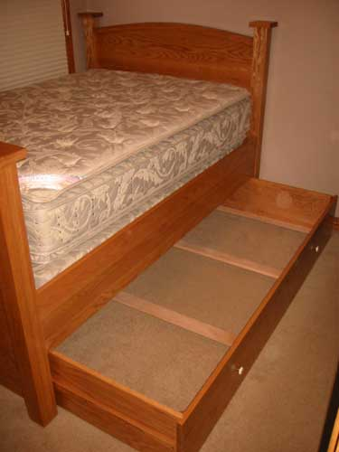 Custom Amish Made Single Bed with Pull out Sleeper