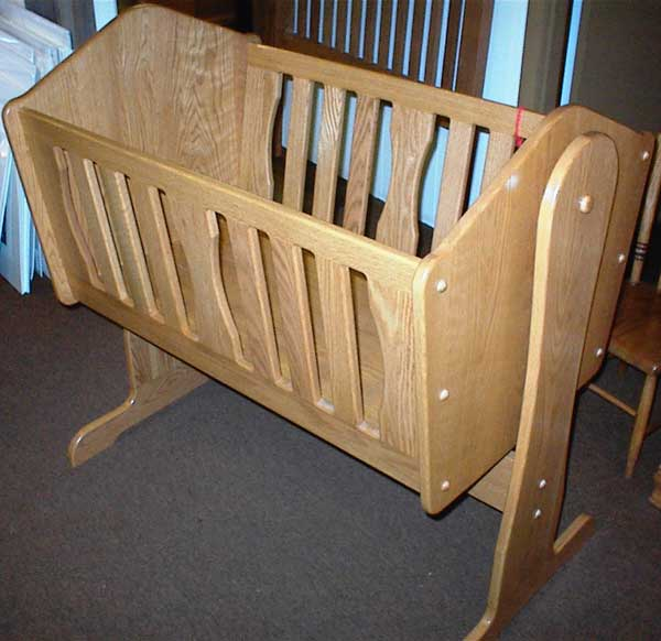 Oak Spindle Crib, Locally Amish Made Oak Crib