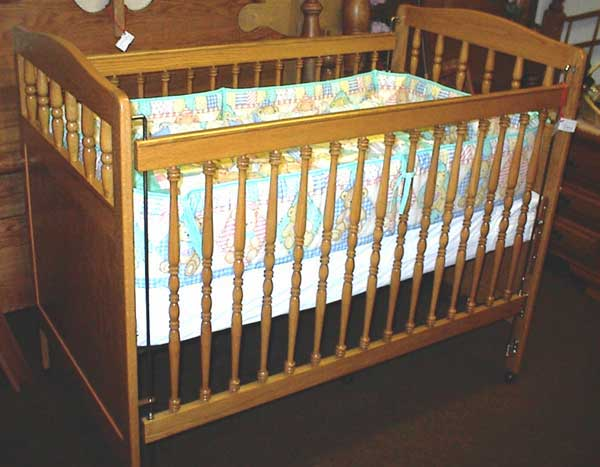 Locally Amish Made Oak Baby Crib