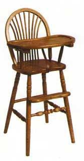Amish Custom Made Sheaf Back High Chair
