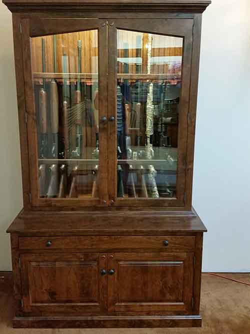 Locally Amish Custom Made Cherry Gun Cabinet Safe Full View