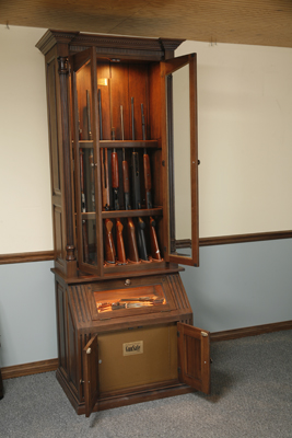 and Pistol Display Gun Cabinet with Under Cabinet Safe & The Woodloft - Custom Gun Cabinet with Lighted Pistol Display