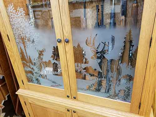 Woodloft Com Etched Glass And Pistol Diplay