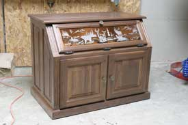 Locally Amish Custom Made Pistol Display Case with Storage