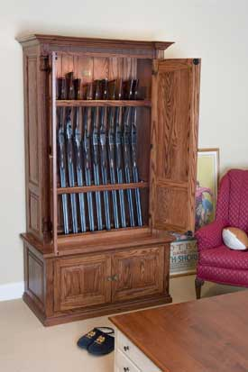 Locally Amish Custom Made Gun Cabinet Safe Inverted Gun Storage