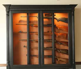 Locally Amish Custom Made Gun Cabinet Safe with Black Stain and Horizontal Storage