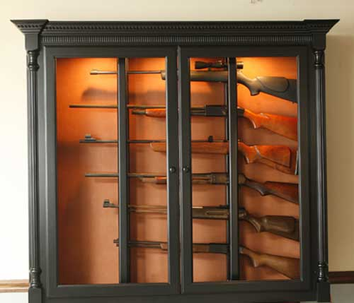 Woodloft horizontal display for long guns locally amish custom made gun safe cabinet black painted wall mount for 6 guns planetlyrics Choice Image