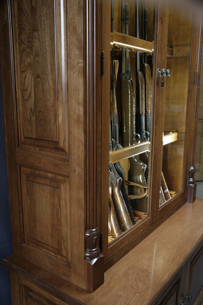 & Woodloft - Amish Custom Made Cherry Gun Cabinet with Fly Rod Storage