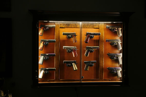 and Walnut Inlays, Lighted Wall Hanging pistol Display Case - The Woodloft - Illinois Amish Custom Crafted Pistol Display