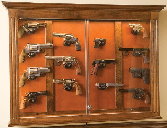 Molding And Fluted Pillars, Cherry Pistol Display Case
