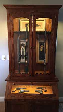 Gun Cabinet With Pistol Display And Upper Display
