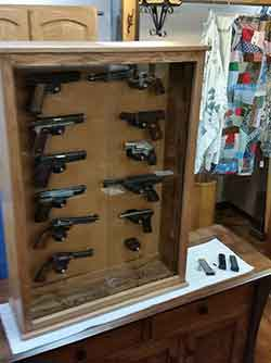 Good Pistol Wall Display Cabinet In Solid Red Oak