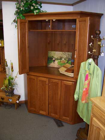 Custom Amish Made Hickory Corner Entertainment Center
