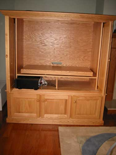 Custom Amish Made oak Corner Entertainment center
