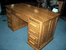 Amish Made Oak Flat Top Desk Side View