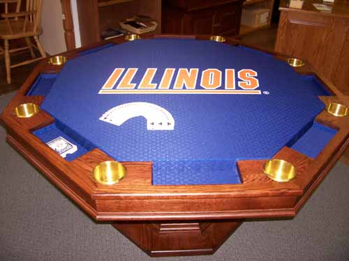 Amish Custom Poker Tables with Illinois College Poker Suited Cloth