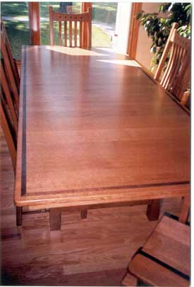 Quarter Sawn Oak Mission Table with Walnut Inlay