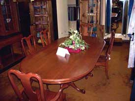 Amish Made Solid Top Cherry Queen Anne Table and Chairs