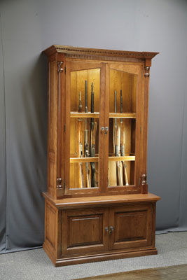 Woodloft Amish Custom Made Cherry Gun Cabinet With Fly Rod Storage